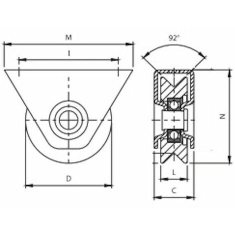 Roue à gorge en V diamètre 80 x 25 pour rail en V avec monture - 200 Kg