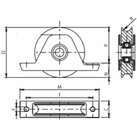 Roue à gorge rond diamètre 100 x 25 pour rail Ø20 avec monture à encastré - 400 Kg