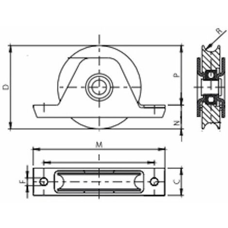 Roue à gorge rond diamètre 80 x 25 pour rail Ø20 avec monture à encastré - 200 Kg