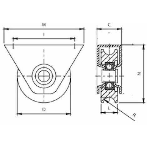 Roue à gorge ronde diamètre 100 x 25 pour rail rond de Ø20 avec monture - 400 Kg