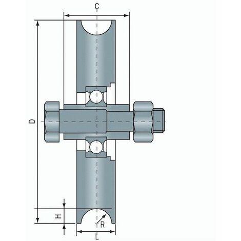 Roue à gorge ronde diamètre 60 x 16 pour rail rond de Ø12 - 100 Kg
