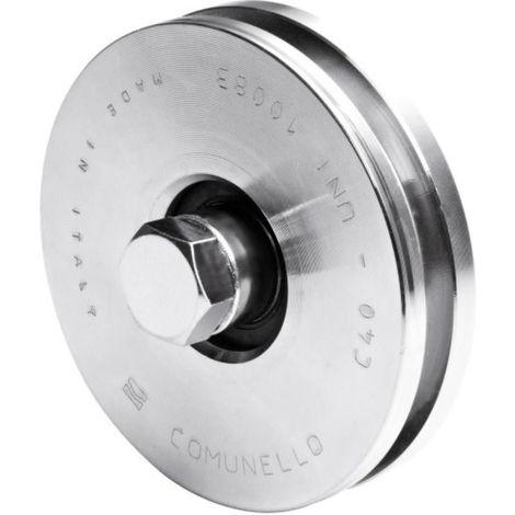 Roue à gorge triangulaire 300 V diamètre 100 mm - 1 roulement pour roues à roulements à billes