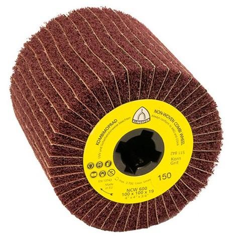 Roue à lamelles combinée texture / toile corindon NCW 600 D. 100 x 100 x 19 mm Gr 180 - 258908 - Klingspor - -