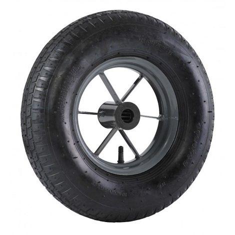 Roue brouette à pneu diamètre 400 x 100 alésage 25 longueur de moyeu 76 mm roulement à rouleaux