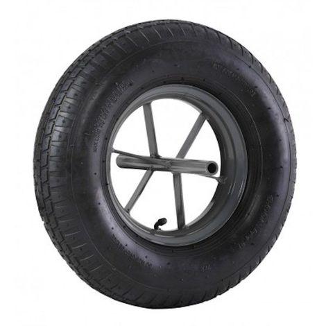 Roue brouette à pneu diamètre 400 x 100 avec axe acier 20 x 260 mm