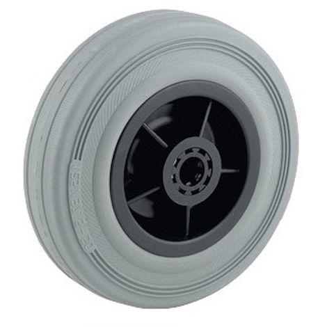 Roue caoutchouc gris diamètre 100 x 30 alésage 12 longueur de moyeu 40 mm roulement à rouleaux