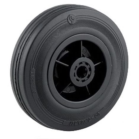 Roue caoutchouc noir diamètre 200 x 50 alésage 20 longueur de moyeu 60 mm roulement à rouleaux
