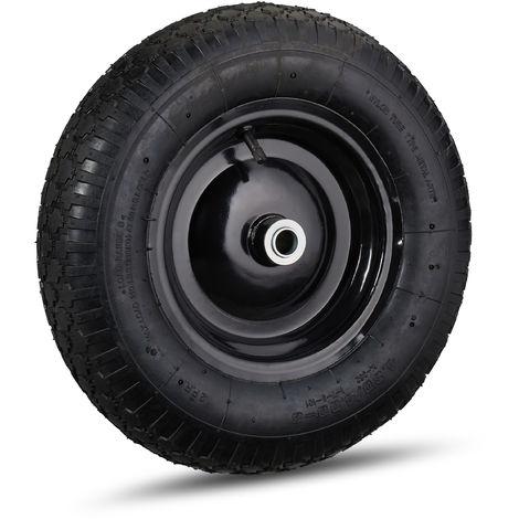 Roue de brouette caoutchouc 120 kg, roue de rechange avec axe, caoutchouc essieu 4.80 4.00-8, noir
