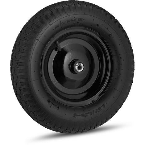 Roue de brouette caoutchouc 120 kg, roue de rechange axe, caoutchouc essieu 4.80 4.00-8, 3 adaptateurs