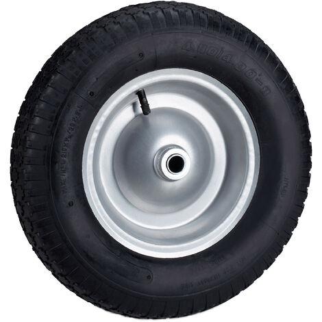 Roue de brouette caoutchouc 200 kg, roue de rechange avec axe, caoutchouc essieu 4.80 4.00-8, noir