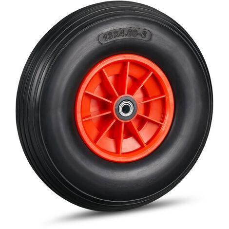 Roue de brouette caoutchouc 4.00-6, roue rechange axe, increvable, essieu, 3 adaptateurs, 136 kg, noir-rouge