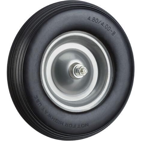 Roue de brouette caoutchouc, roue de rechange avec axe, 4.80 4.00-8, caoutchouc PU essieu 100 kg, noir-gris