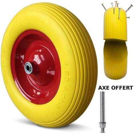 Roue de Brouette Increvable 4.80/4.00-8 260Kg + Axe Ø 20mm