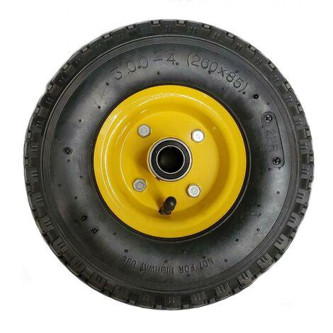 Roue de Chariot / Diable gonflable 3.00-4 (260x85) 160Kg Ø 20mm