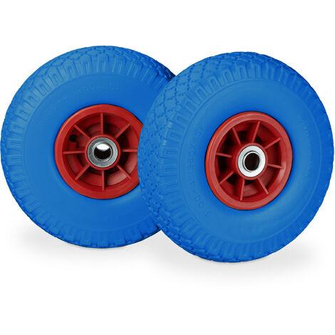 """Roue de diable, 2x roue de brouette caoutchouc, 3.00-4"""", 260 x 85 mm, pour axe de 20 mm, bleu-rouge"""