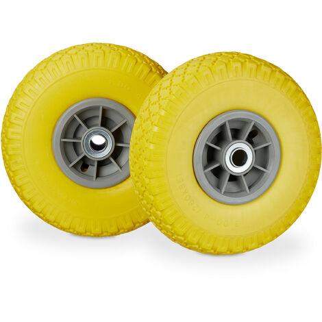"""Roue de diable, 2x roue de brouette caoutchouc, 3.00-4"""", 260 x 85 mm, pour axe de 20 mm, jaune-gris"""