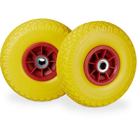 """Roue de diable, 2x roue de brouette caoutchouc, 3.00-4"""", 260 x 85 mm, pour axe de 20 mm, jaune-rouge"""