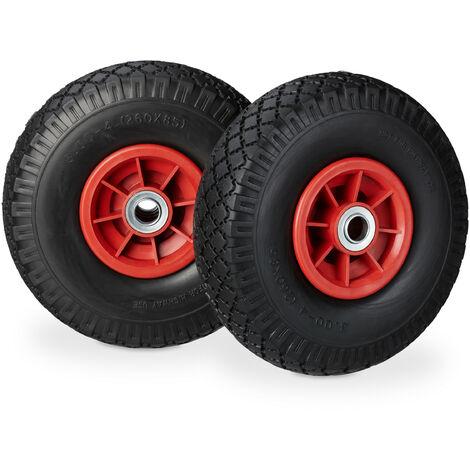 """Roue de diable, 2x roue de brouette caoutchouc, 3.00-4"""", 260 x 85 mm, pour axe de 20 mm, noir-rouge"""