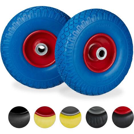 """Roue de diable, 2x roue de brouette caoutchouc, pour axe de 20 mm, 3.00-4"""", 260 x 85 mm, bleu-rouge"""