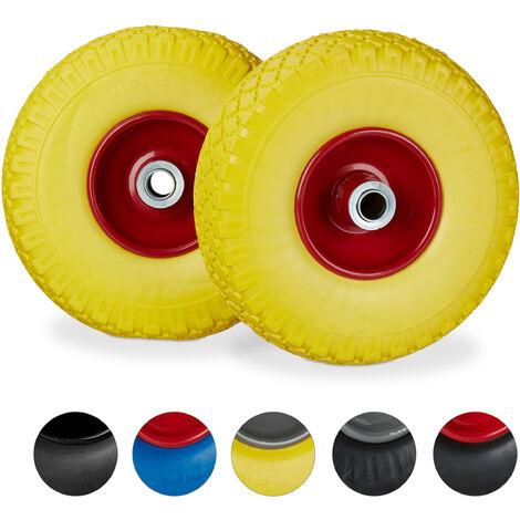 """Roue de diable, 2x roue de brouette caoutchouc, pour axe de 20 mm, 3.00-4"""", 260 x 85 mm, jaune-rouge"""