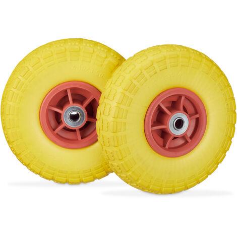 Roue de diable Set de 2 en caoutchouc 260x85, roue complète caoutchouc, 16 mm, 4.1/3.5-4 essieu 150 kg