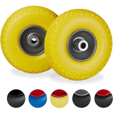 Roue de diable Set de 2 roue de brouette 20mm, roue complète axe, 3.00-4 essieu 100 kg, 260x85 mm, jaune-gris
