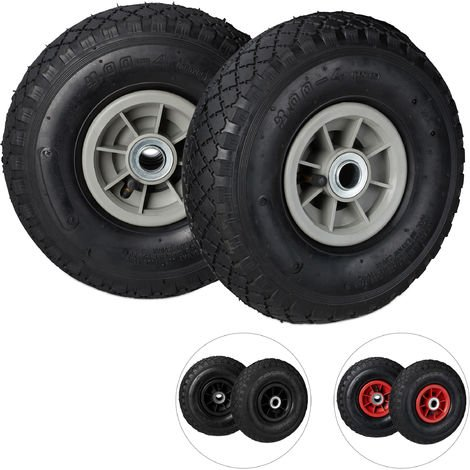 Roue de diable Set de 2 roues de brouette, roue de rechange axe,3.00-4 , caoutchouc 260x85 mm 80 kg, noir gris