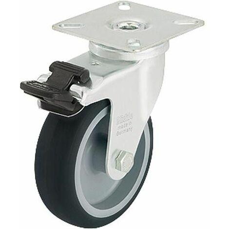 Roue de guidage avec blocage LPA-TPA 75G-FI, charge 75 kg roue diam. 75 mm, taille plaque 60x60mm