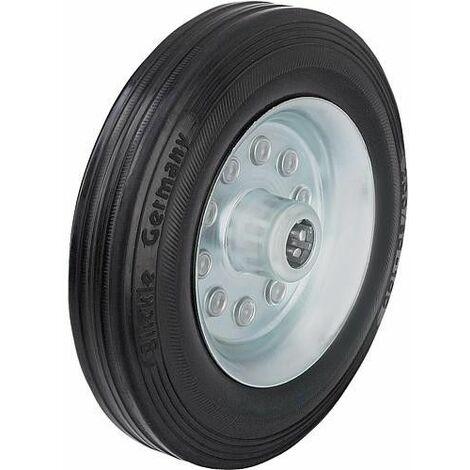 Roue de guidage caoutchouc av jante acier VE 125/12R, charge 100 kg roue diam. 125 mm, trou axial diam. 12 mm