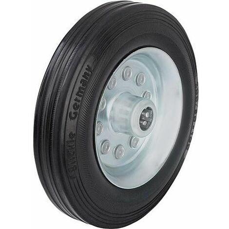 Roue de guidage caoutchouc av jante acier VE 80/12R, charge 50 kg roue diam. 80 mm, trou axial diam. 12 mm