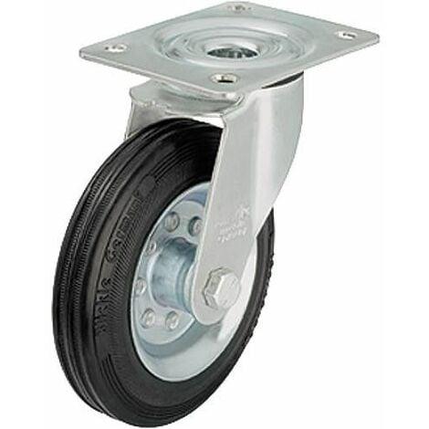 Roue de guidage caoutchouc av jante LE-VE 100R, charge limite 70 kg Roue diam. 100mm, dim plaque 100x85mm