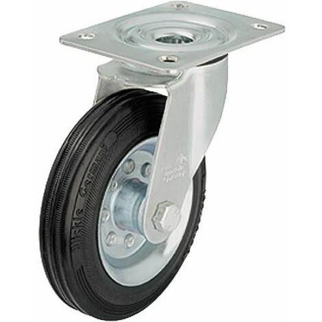 Roue de guidage caoutchouc av jante LE-VE 80R, charge limite 50kg Roue diam. 80mm, dim plaque 100x85mm