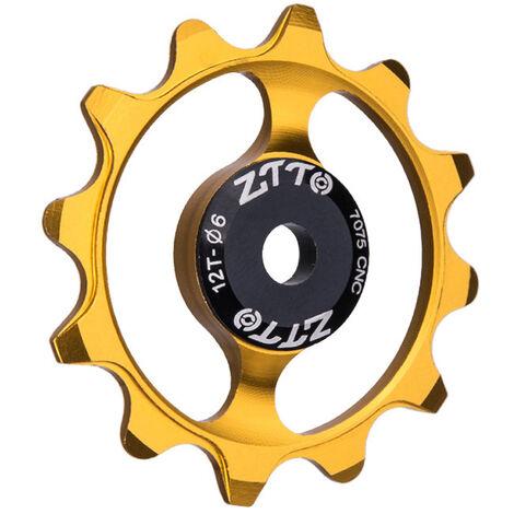 Roue De Guidage De Bicyclette Roulement En Ceramique De Dent 12T, Roue De Guidage De Derailleur Arriere En Alliage D'Aluminium, Or