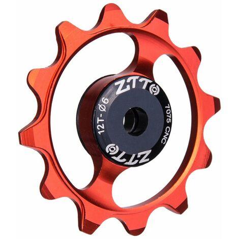 Roue De Guidage De Bicyclette Roulement En Ceramique De Dent 12T, Roue De Guidage De Derailleur Arriere En Alliage D'Aluminium Rouge