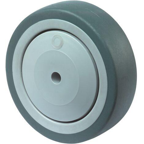 Roue de rechange Ø de la roue 125 mm Capacité de charge 1 caoutchouc gris Ø d'axe 8 mm Longueur du moyeu 36,5 mm