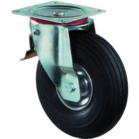 Roue gonflable Ø de la roue 200 mm Capacité de charge 7 avec plaque de fixation roulette pivotan pneumatique noir