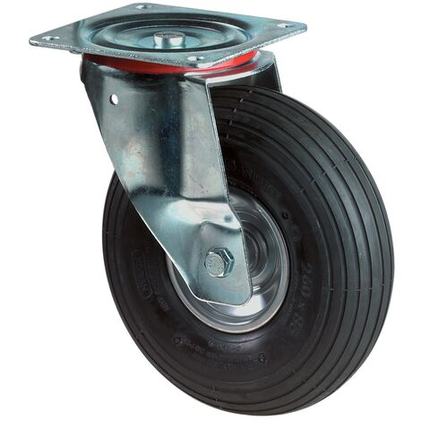 Roue gonflable Ø de la roue 200 mm Capacité de charge 7 roulette pivotante avec plaque de fixati profil rainuré