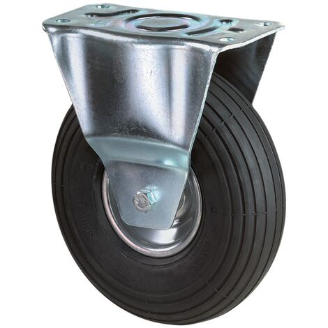 Roue gonflable Ø de la roue 260 mm Capacité de charge 1 roulette fixe avec plaque de fixation profil rainuré