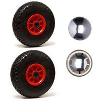 Roue gonflable diable 260 x 85 alésage 25 mm (3.00-4) à rouleaux charge 270 Kg + Calotte fixation (2 pièces)