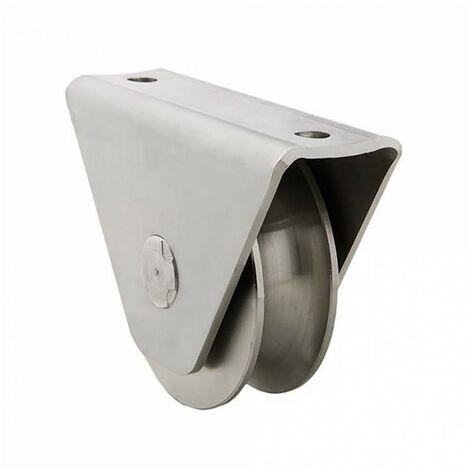 Roue gorge U sur roulement pour portail 16mm en applique - Ø80mm