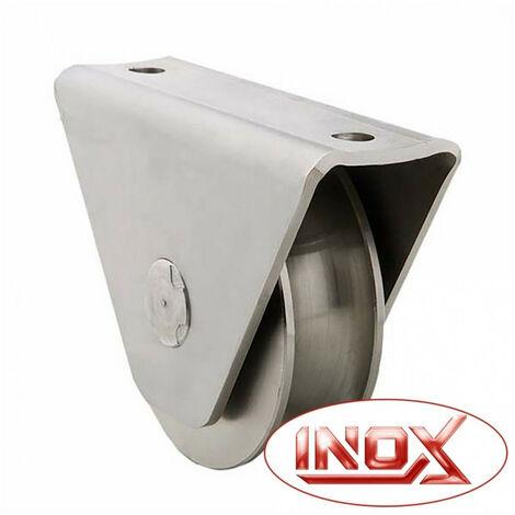 Roue gorge U sur roulement pour portail 20mm en applique - Ø100mm - inox