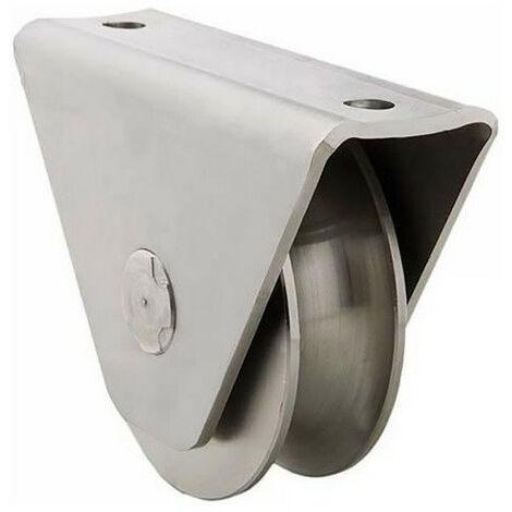 Roue gorge U sur roulement pour portail 20mm en applique - Ø120mm - acier