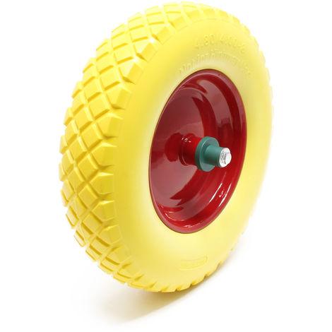 Roue - Pneu de brouette 4.8/ 4.00-8 avec Axe jaune Increvable Charge jusqu'à 160 kg