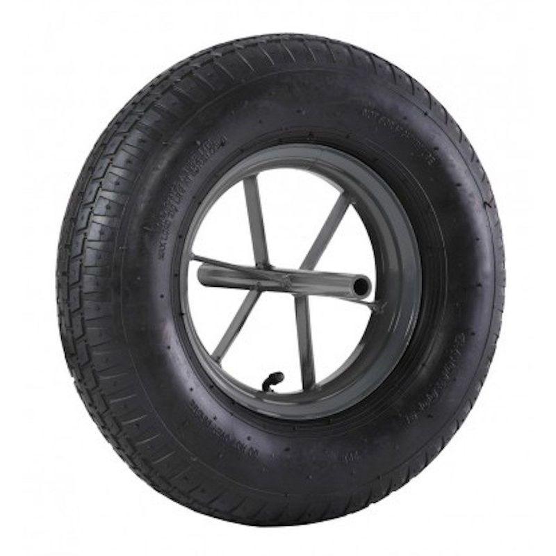 2GT - Roue brouette à pneu diamètre 400 x 100 avec axe acier 20 x 260 mm
