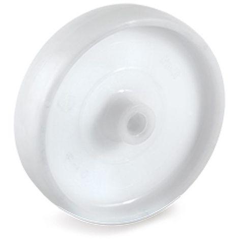 Roue polyamide blanc diamètre 65 x 30 alésage 12 longueur de moyeu 40 mm