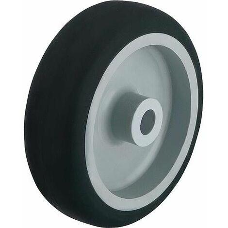 Roue revetu de caoutchouc thermosplastique, charge limite 50 kg roue D 50mm, axe 8mm