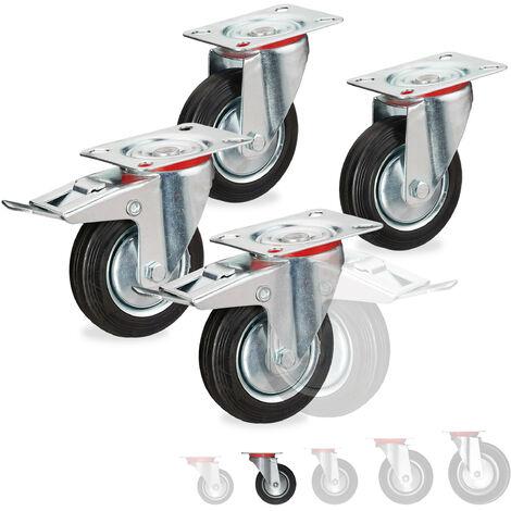 Roues charge lourde jeu de 4, pivotent à 360°, roulement à billes, 2 freins, 280 kg, 100mm, noires