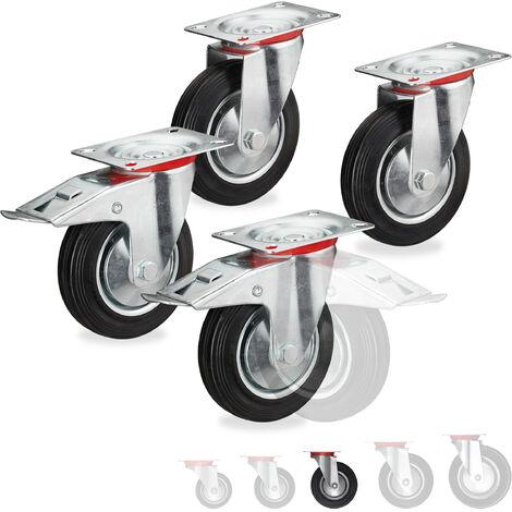 Roues charge lourde jeu de 4, pivotent à 360°, roulement à billes, 2 freins, capacité 320 kg, 125 mm, noires
