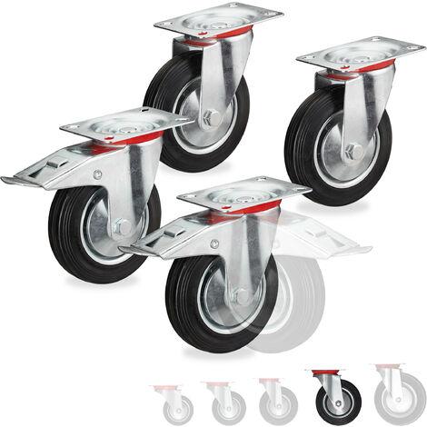 Roues charge lourde jeu de 4, pivotent à 360°, roulement à billes, 2 freins, capacité 400 kg, 160 mm, noires