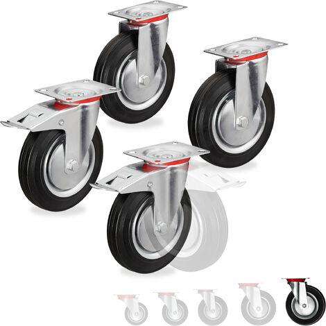 Roues charge lourde jeu de 4, pivotent à 360°, roulement à billes, 2 freins, capacité 800 kg, 200 mm, noires